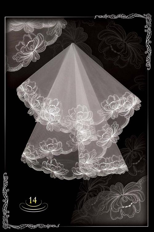 Embroidered wedding veil №14