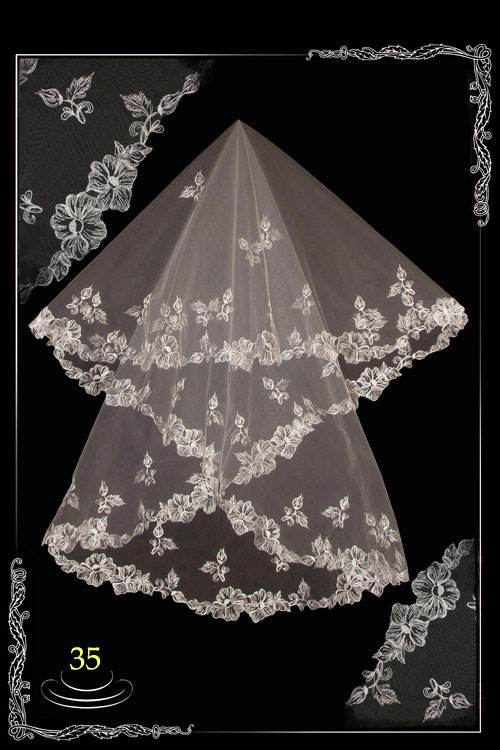 Embroidered wedding veil. №35