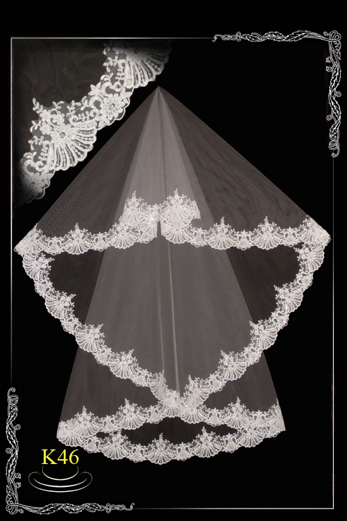 Lace veil with beads K46