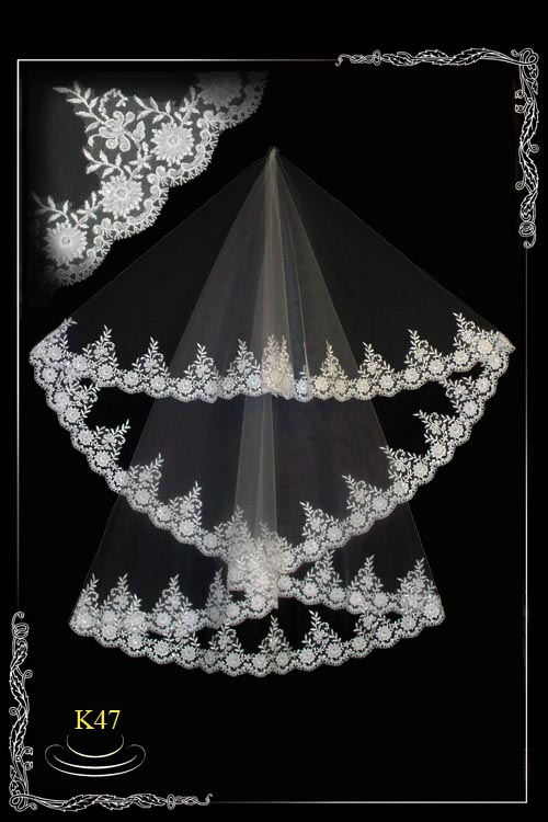 Lace veil with beads  К47