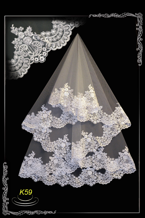 Wedding veil of lace without a cord K59. Lace is high, densely embroidered.